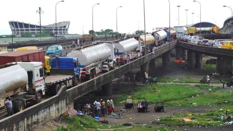Petroleum tanker drivers park their tankers along the Lagos highway