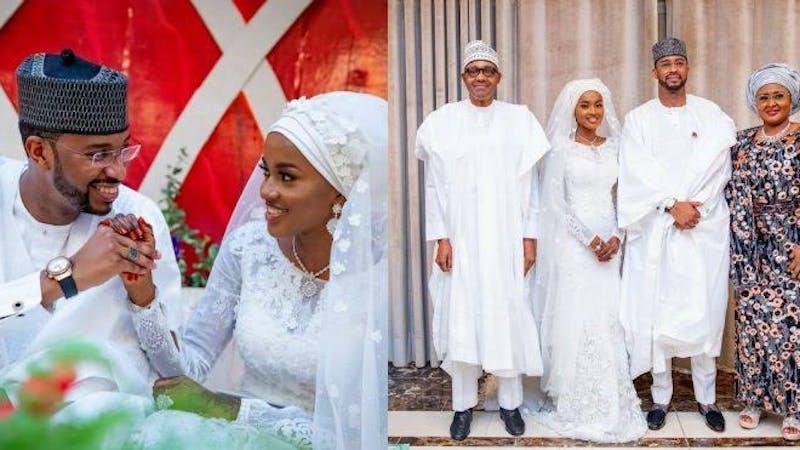 President Buhari and Aisha Buhari during the wedding of their daughter Hanan to Muhammed Turad, Mamman Daura was reportedly absent.