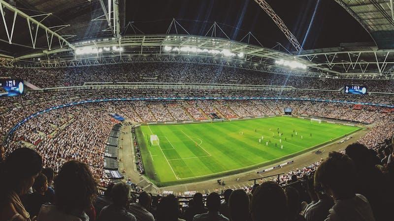 Ariel view of a football stadium.