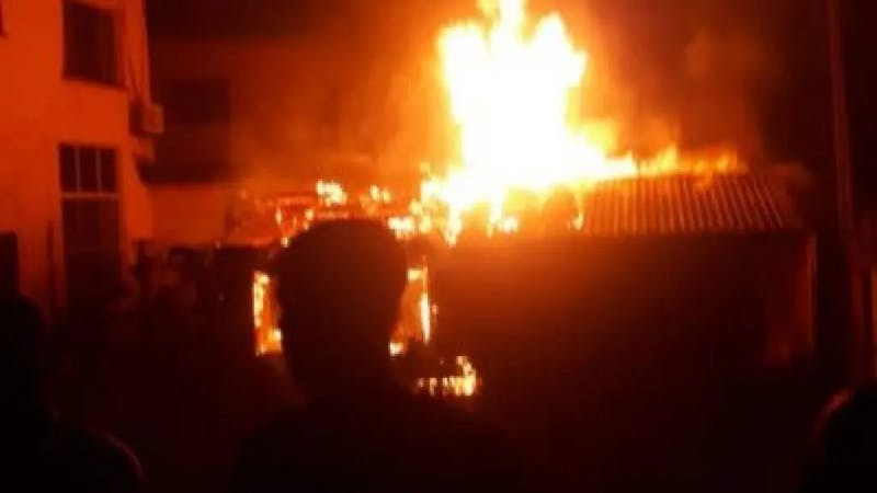 Blazing fire razing down a building as father and three sons get burnt to death in Cross River State