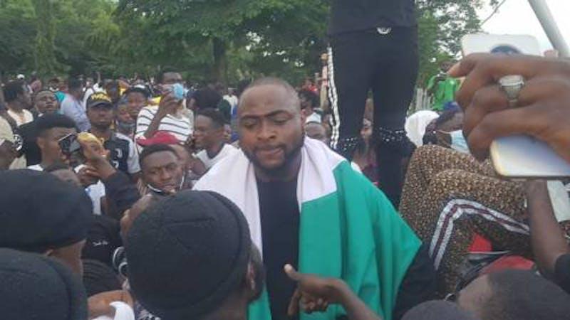 David Adeleke a.k.a Davido during the #EndSARS protest at Force Headquarters, Abuja