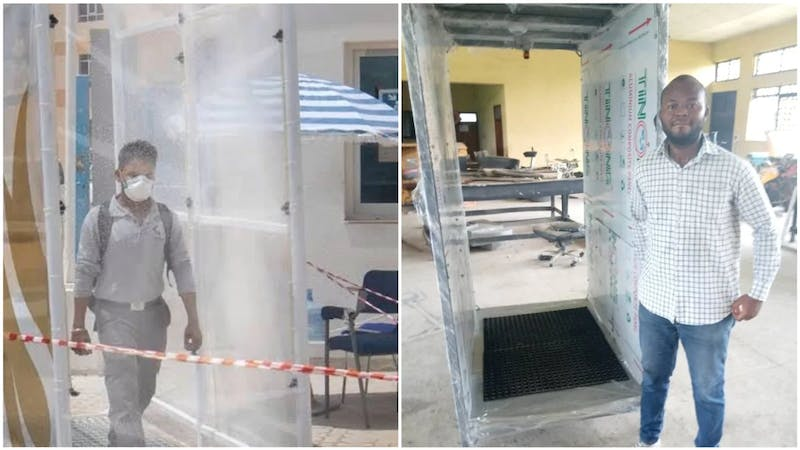 Abiodun Abraham, the UNILAG graduate who constructed a COVID-19 disinfectant spray machine
