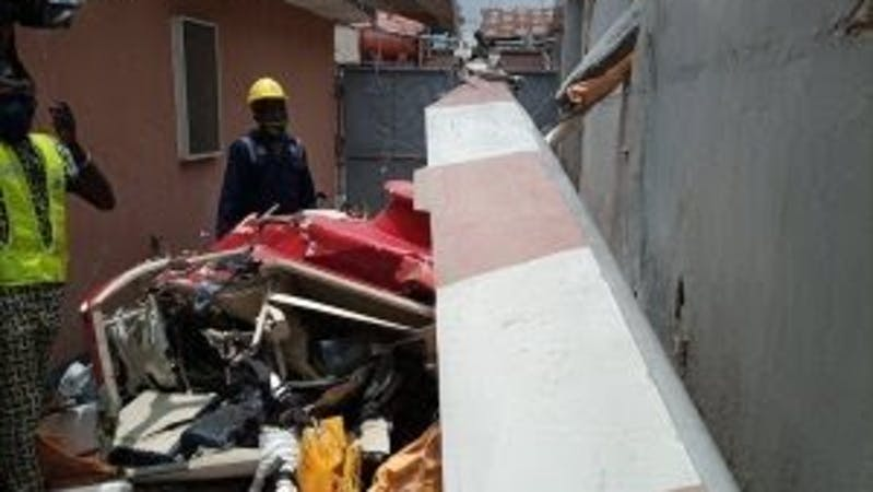 Bell 206 helicopter operated Quorum Aviation which crashed into a building at 16 A, Salvation Road, Opebi, Ikeja Lagos on Friday.