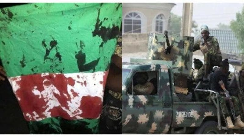 Soldiers shoot at protesters at Lekki toll gate, staining Nigerian flags with blood