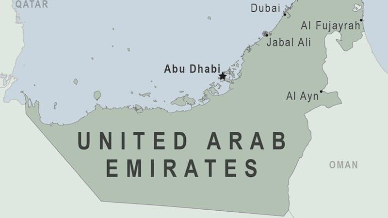 Map showing Abu Dhabi in United Arab Emirates (UAE)