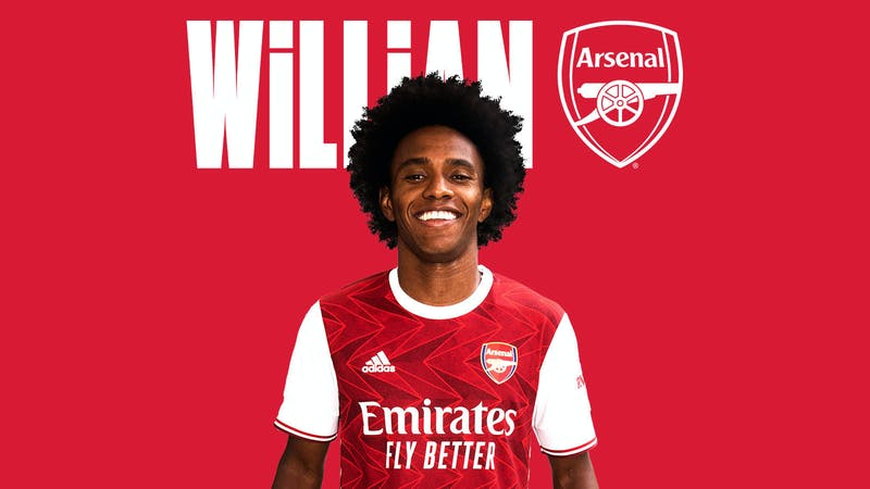 Brazilian winger Wilian in Arsenal home kit
