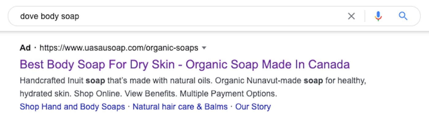 """A google search for """"Dove body soap"""" shows the top result as an ad for Uasau Soap."""