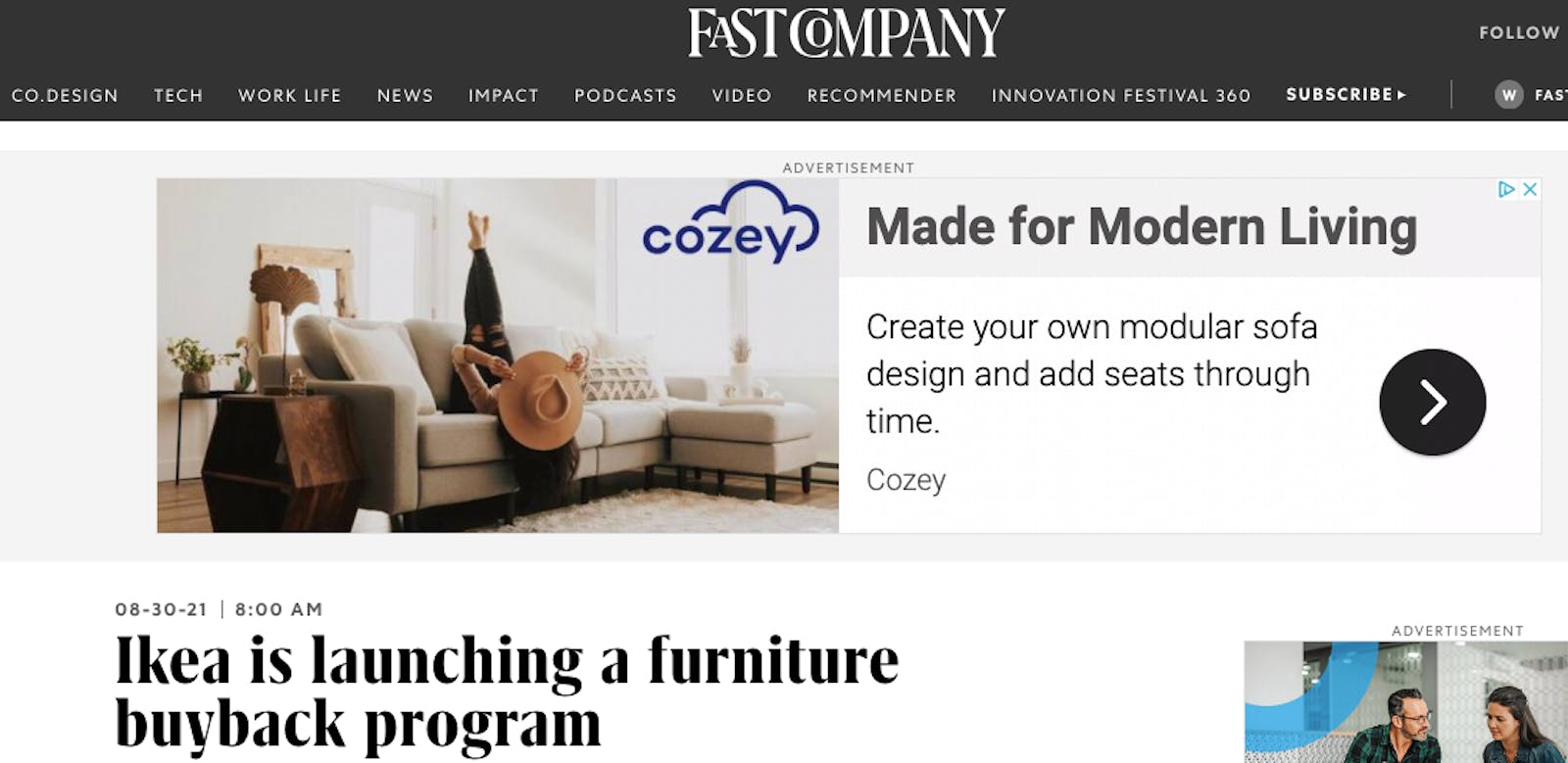 An ad for Cozey is shown above an article on Fast Company