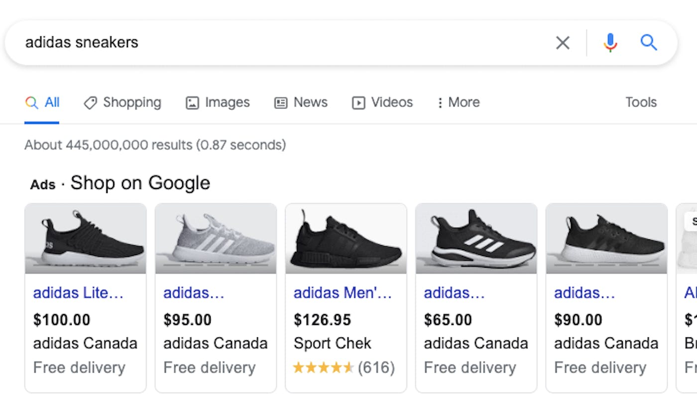"""A google search for """"Adidas sneakers"""" shows ads for Adidas sneakers as the top results"""