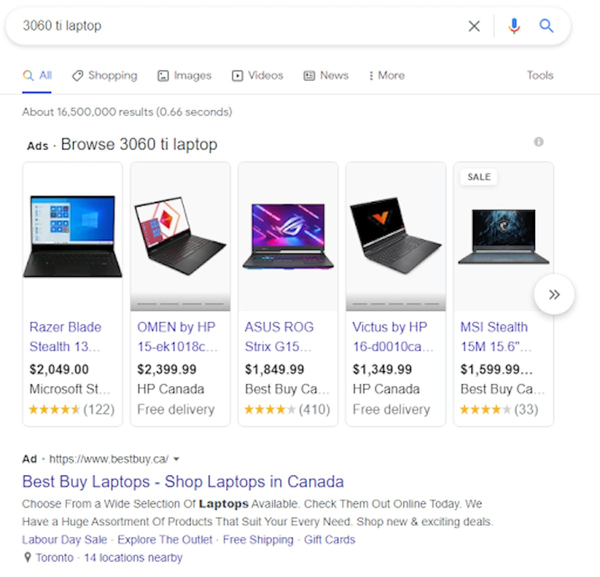 A google search for a laptop shows multiple ads as the top result