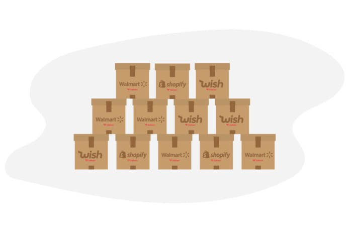 Stacked boxes with e-commerce brand logos