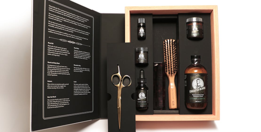 Educated Beards kit showing products inside