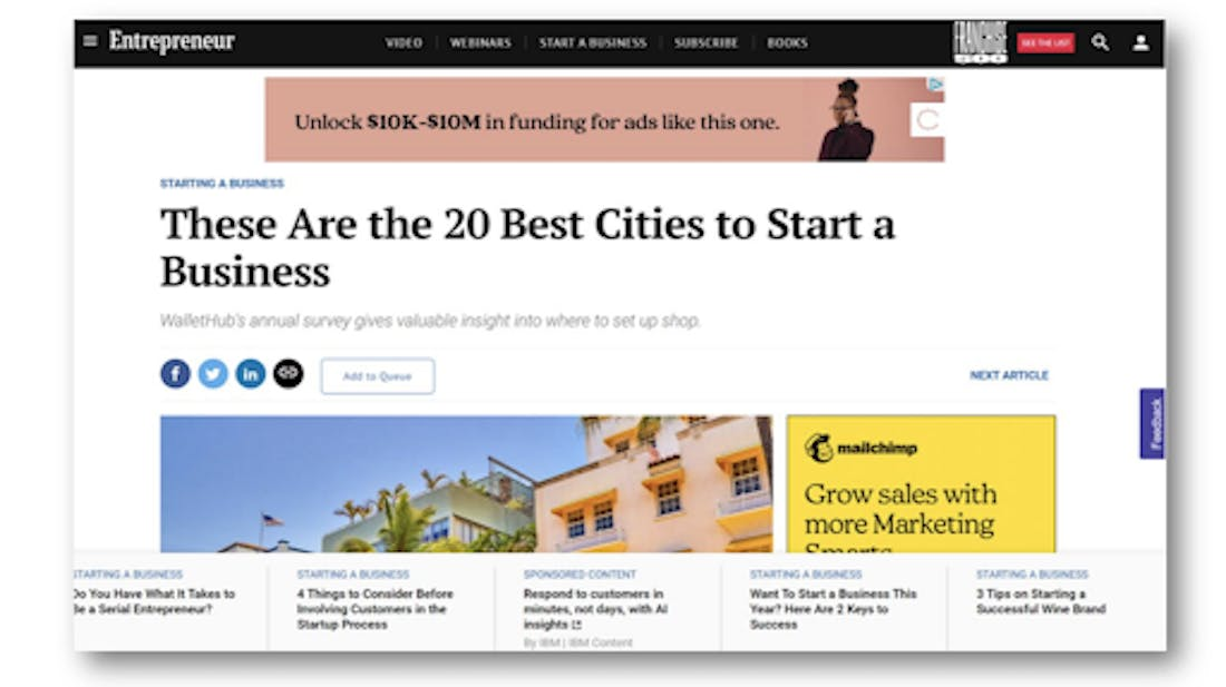A Clearco ad is shown above an Entrepreneur.com article