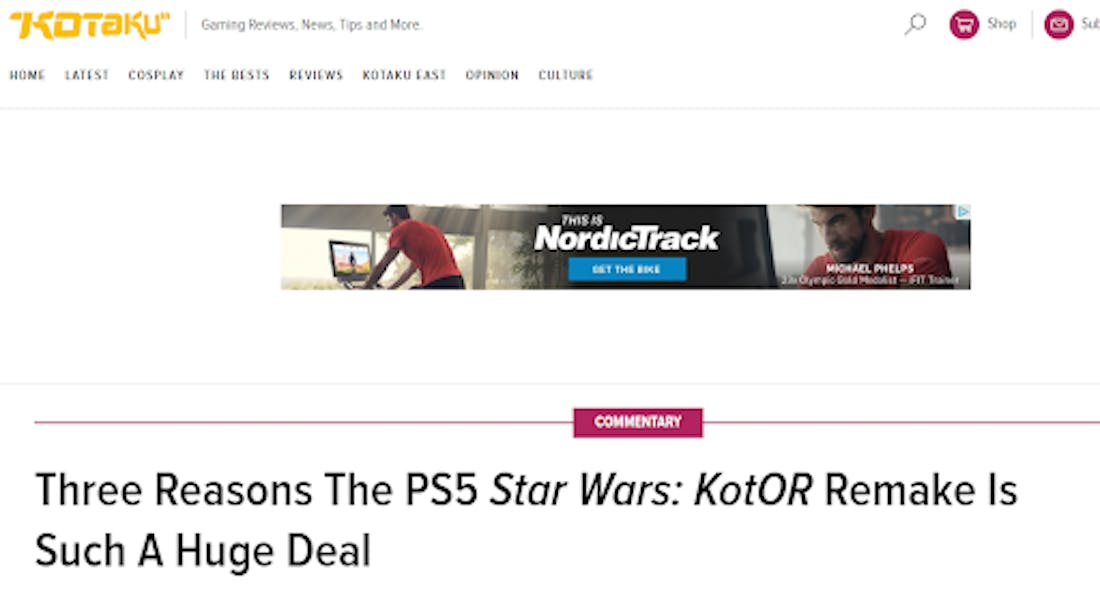 A NordicTrack ad is shown above an article about Star Wars.