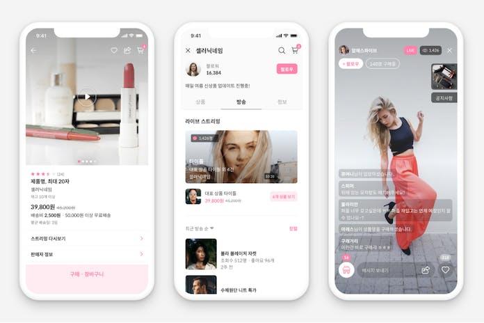 Three phones showing app interface