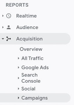 """A screenshot of the """"reports"""" dropdown menu in Google Analytics, with Acquisition, then Campaigns selected."""