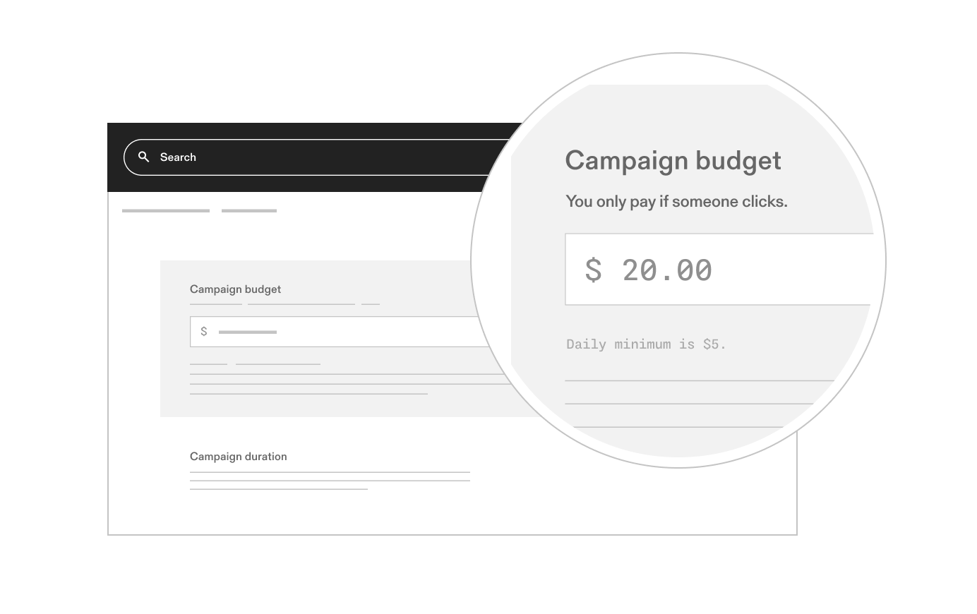An image showing a screen selecting a budget for a Google Smart Shopping campaign