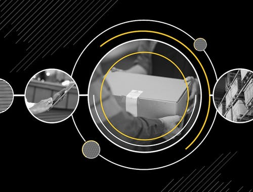 Three images are shown in circles: a person checking their mobile phone, a package being delivered, a stack of shipping containers