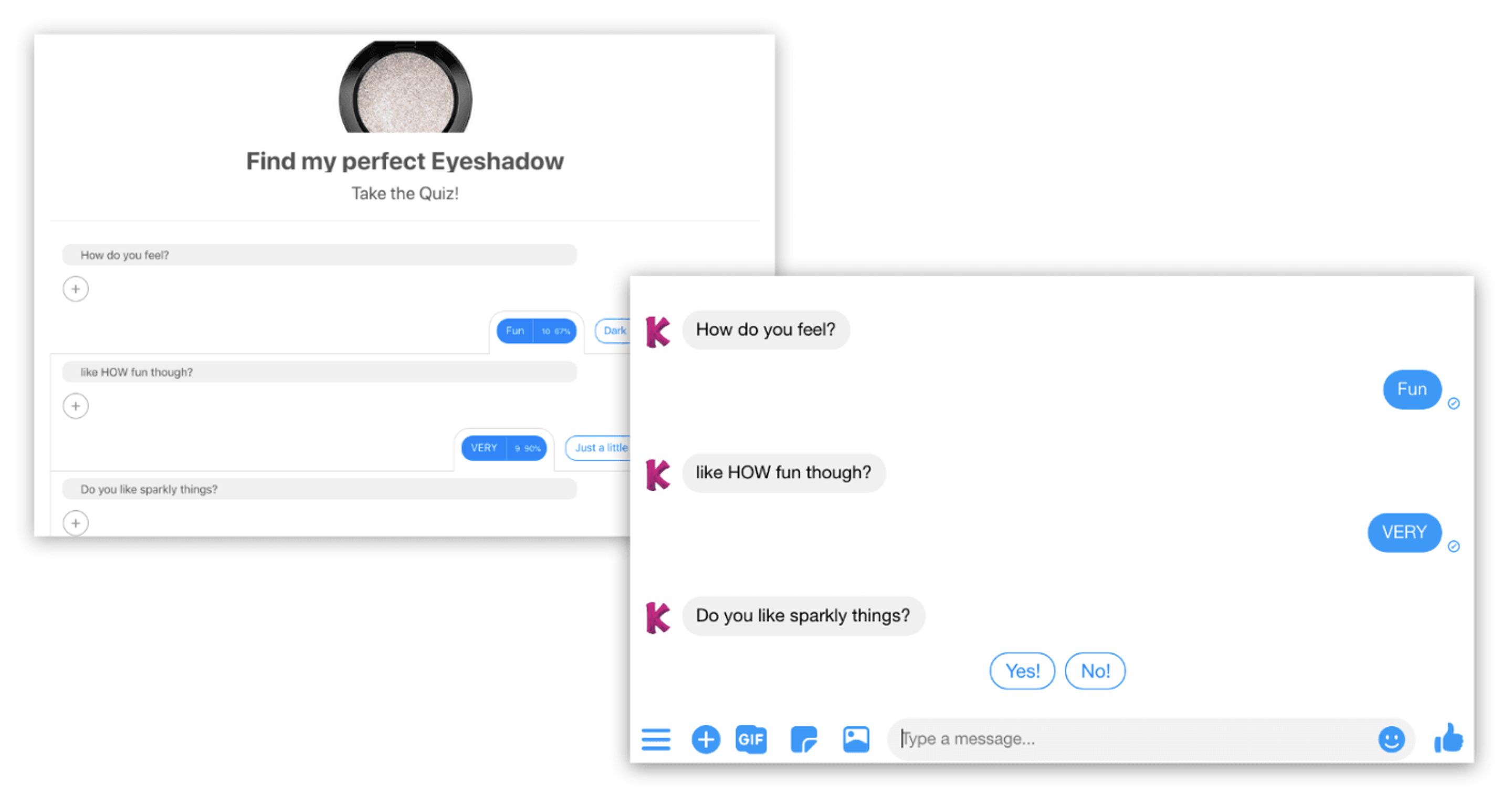 Two Facebook messenger windows showing chat