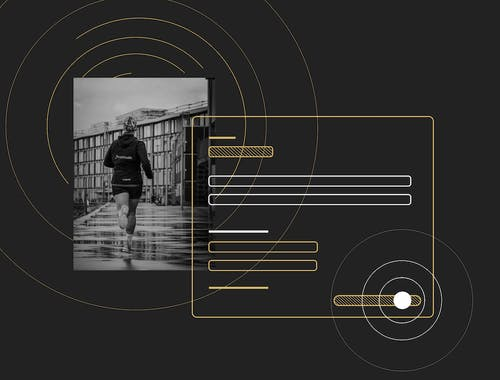 A person running off towards a cityscape with an overlaid image of a tracking form.