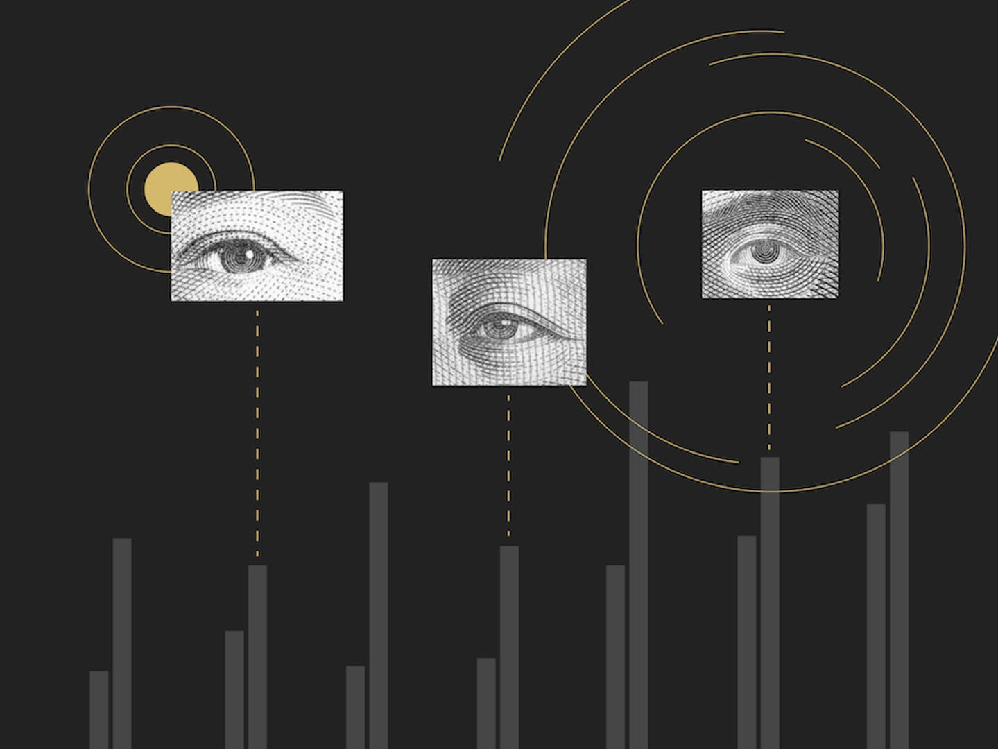 A schematic of eyes looking at search engines.
