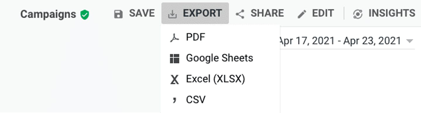 """A screenshot of Google Analytics showing the """"Export"""" menu, with options to export as a PDF, Google Sheets, Excel, or CSV document"""