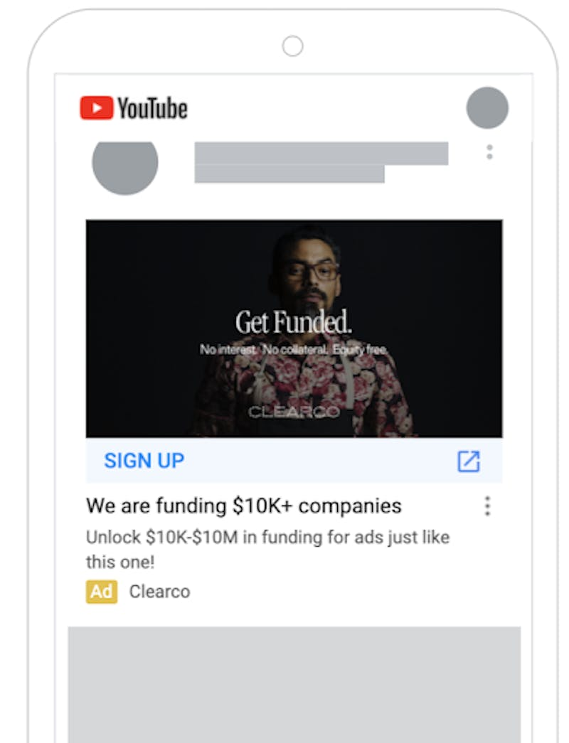 A Clearco ad is shown on the youtube mobile app