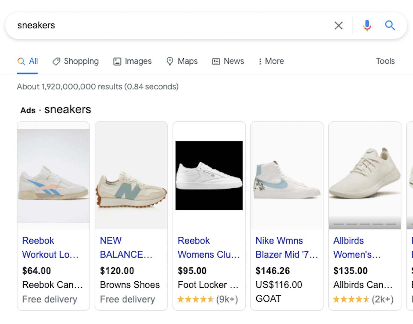 """A Google search for """"Sneakers"""" shows several shopping ads for different sneaker brands"""
