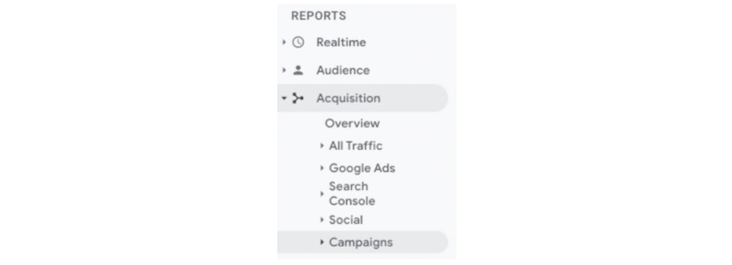 """A screenshot of the """"reports"""" dropdown menu in Google Analytics, with Analytics, then Campaigns selected."""