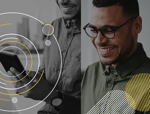 Two images are shown: a man checking his tablet, and the same man smiling while looking down.