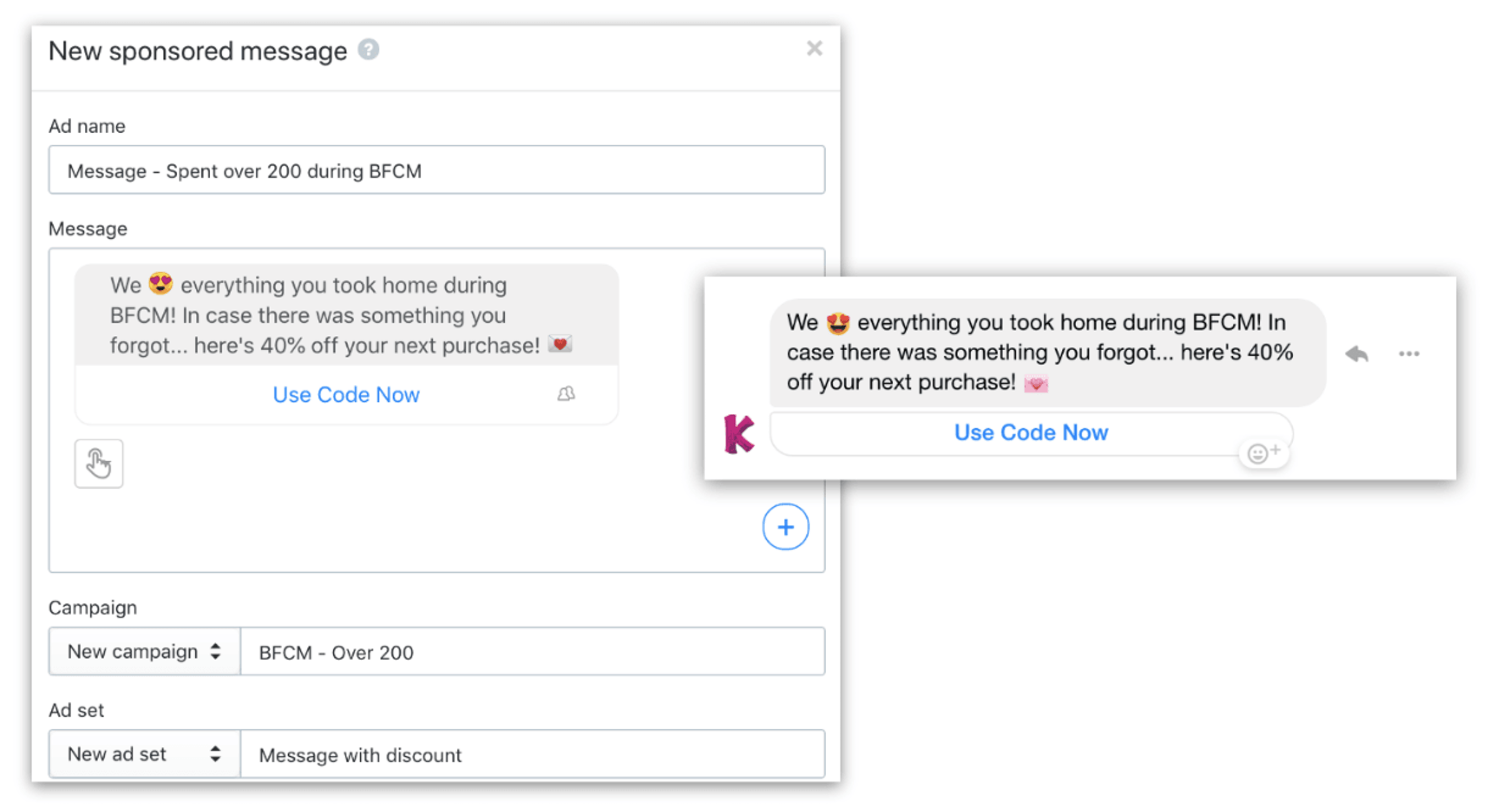 User interface for setting up a new sponsored message