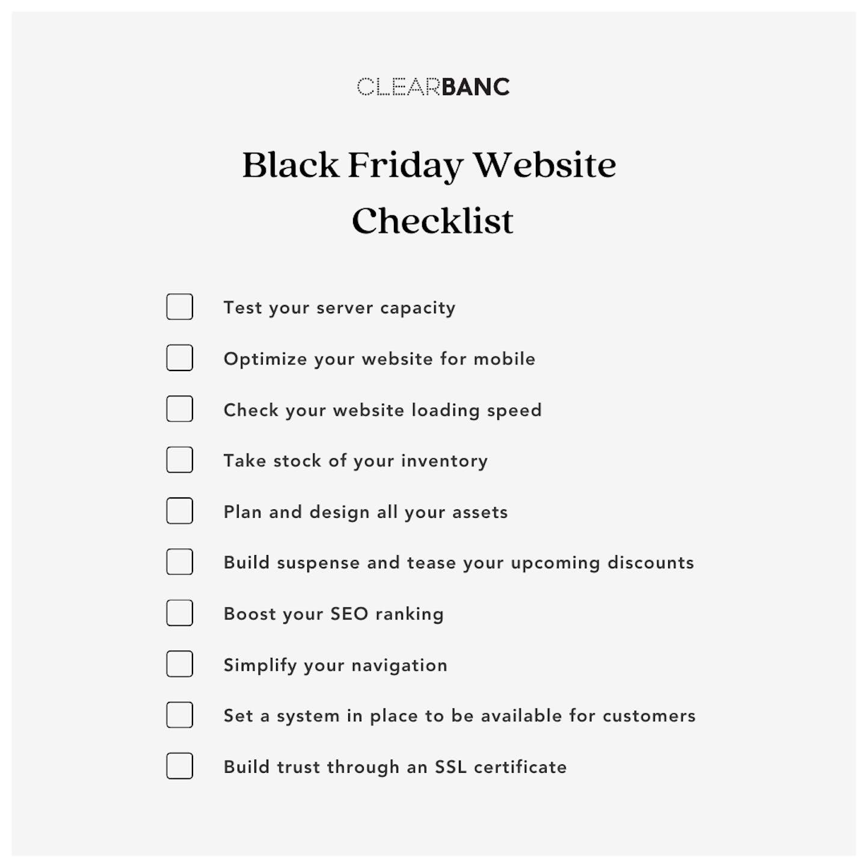 Black Friday website checklist