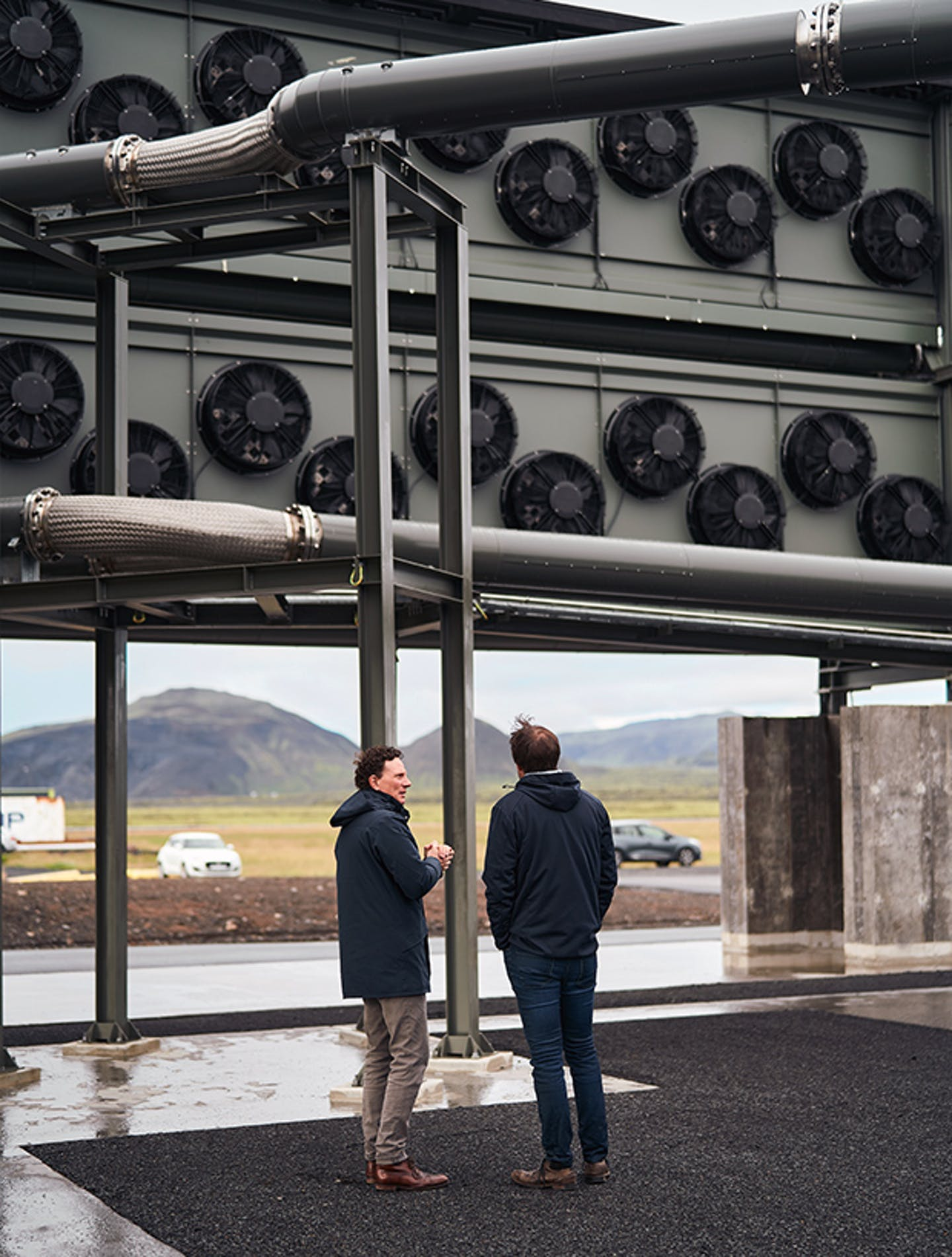 Christoph Gebald and Jan Wurzbacher in front of Climeworks' Orca plant