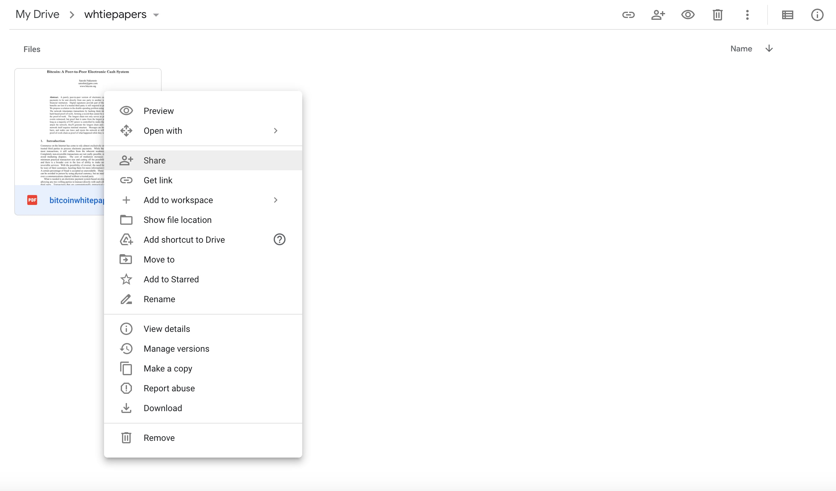 Share document on Google Drive