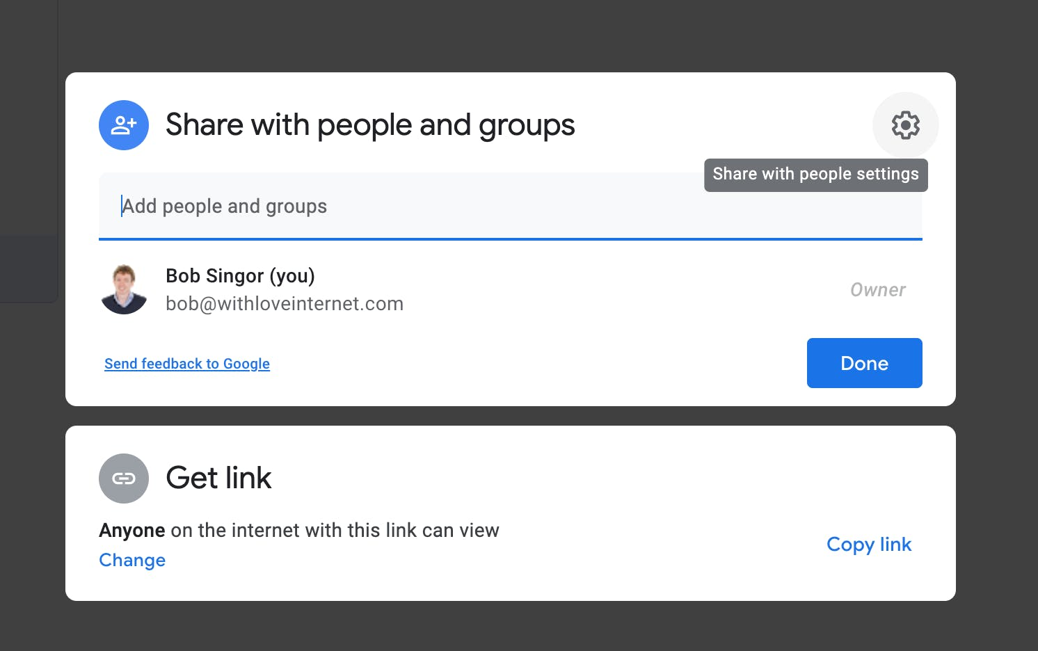 Change settings of a file in Google Drive