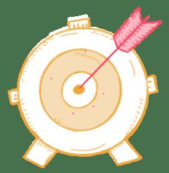 Archery target with arrow in the bullseye illustration