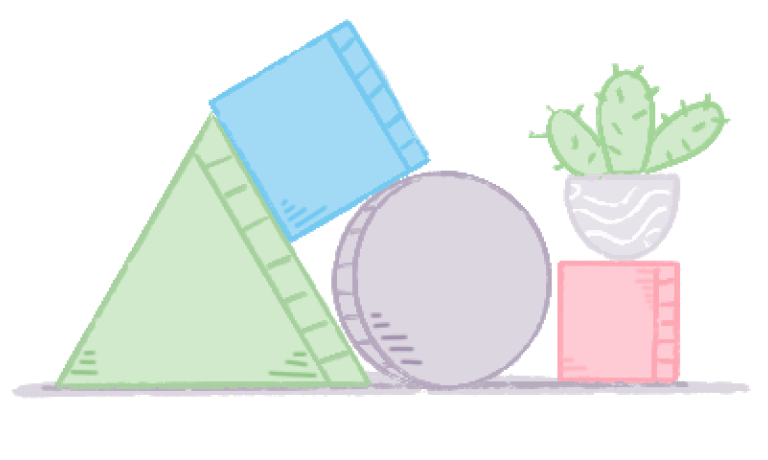 Green triangle, blue square, purple circle, pink square and cactus.
