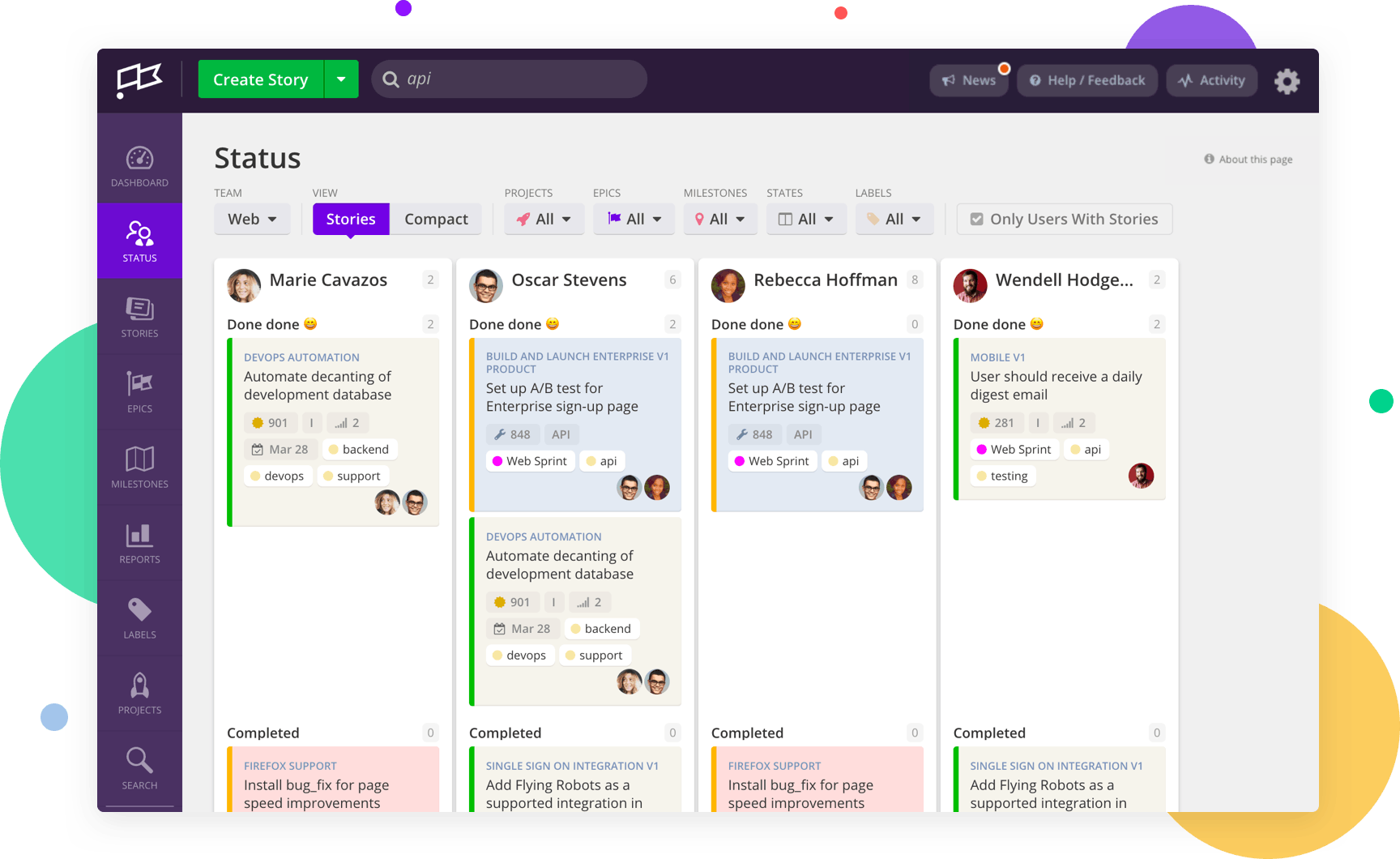 Features of Clubhouse - Project Management for Software Teams