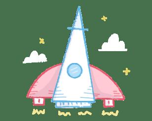 Rocket shit to the starts illustration