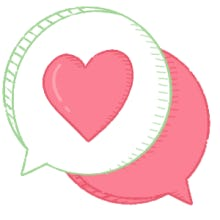 Hearts in chat bubbles illustration