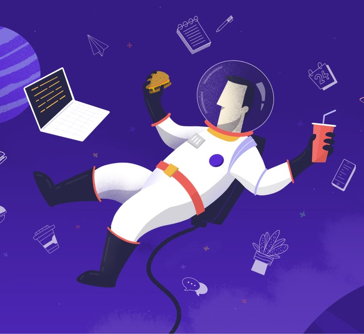 Remote employee, working from space and enjoying it