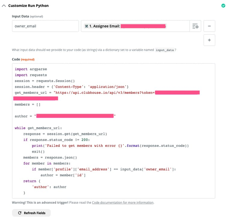 Screenshot of the Python code shown above in action