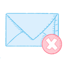 Illustration of a mail envelope with a cancelled symbol