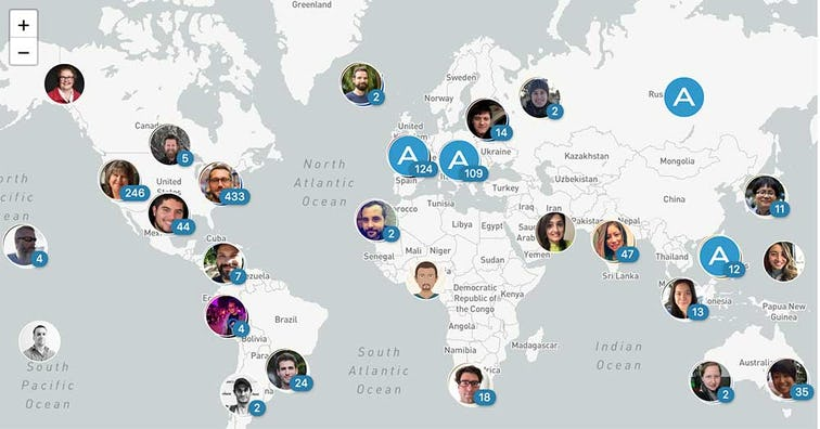 A map showing off how distributed Automattic's team is