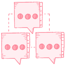 Illustration of interconnected chat bubbles