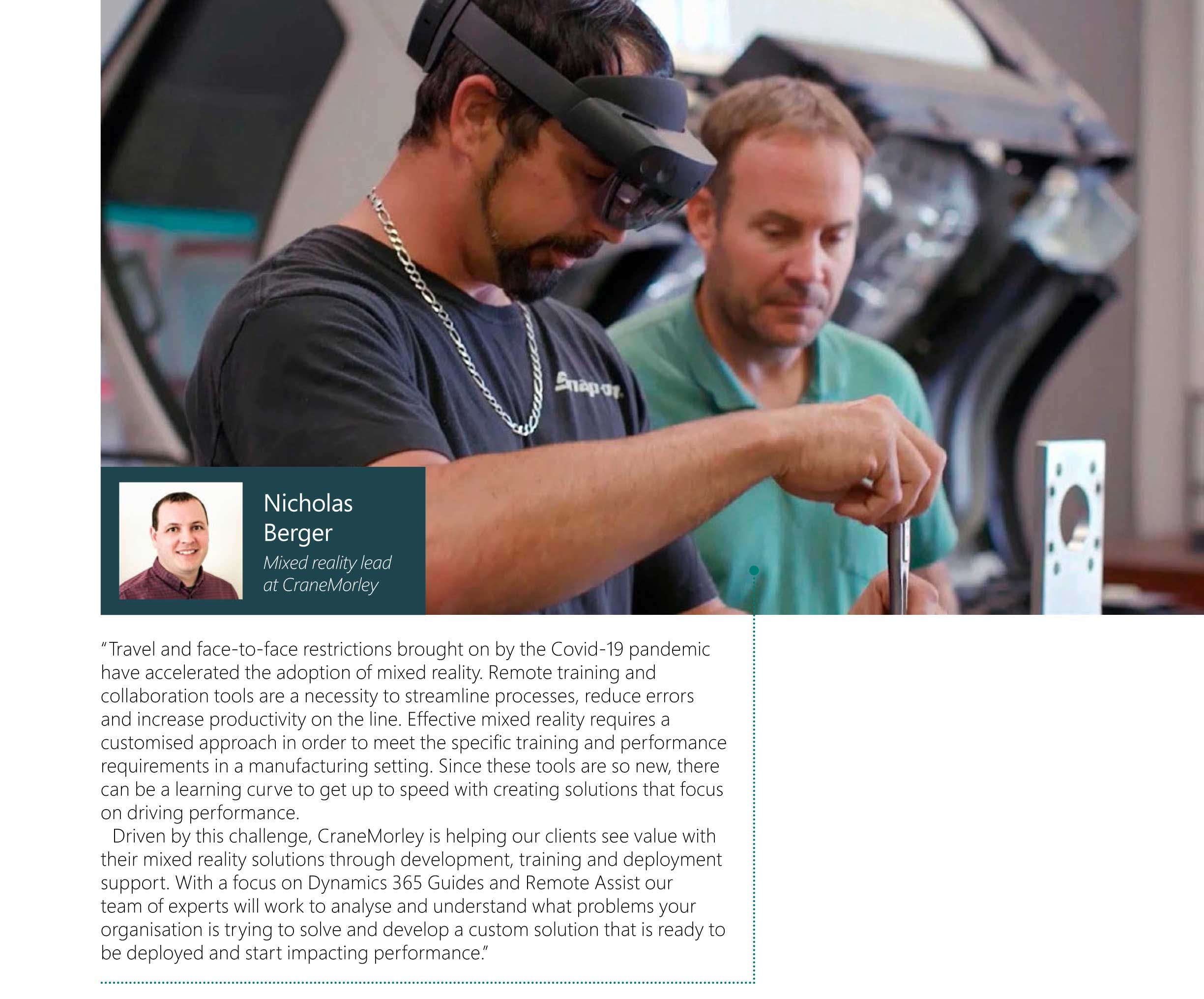 The Record Magazine cut out of Mixed Reality Lead Nick Berger on how CraneMorley is helping companies train employees during the Covid-19 panademic