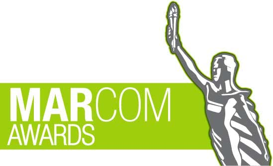 Green and White MarCom Award Logos and Statuette