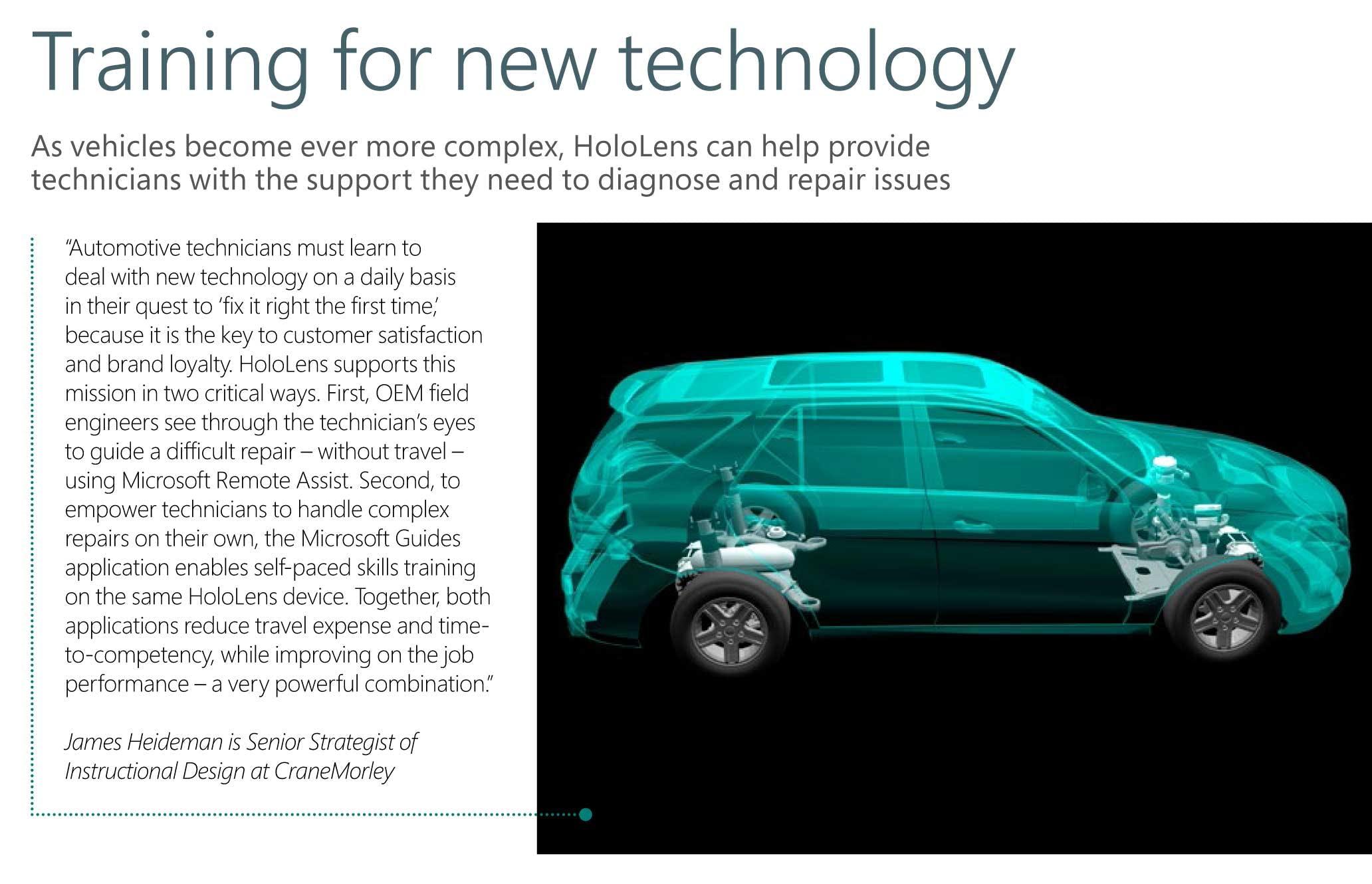 The Record Magazine magazine cut out on Senior Strategist of Instuctional Design James Heideman on the training use of Microsoft HoloLens 2.