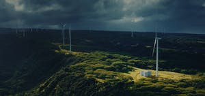 Stationary power storage used in conjunction with wind power.