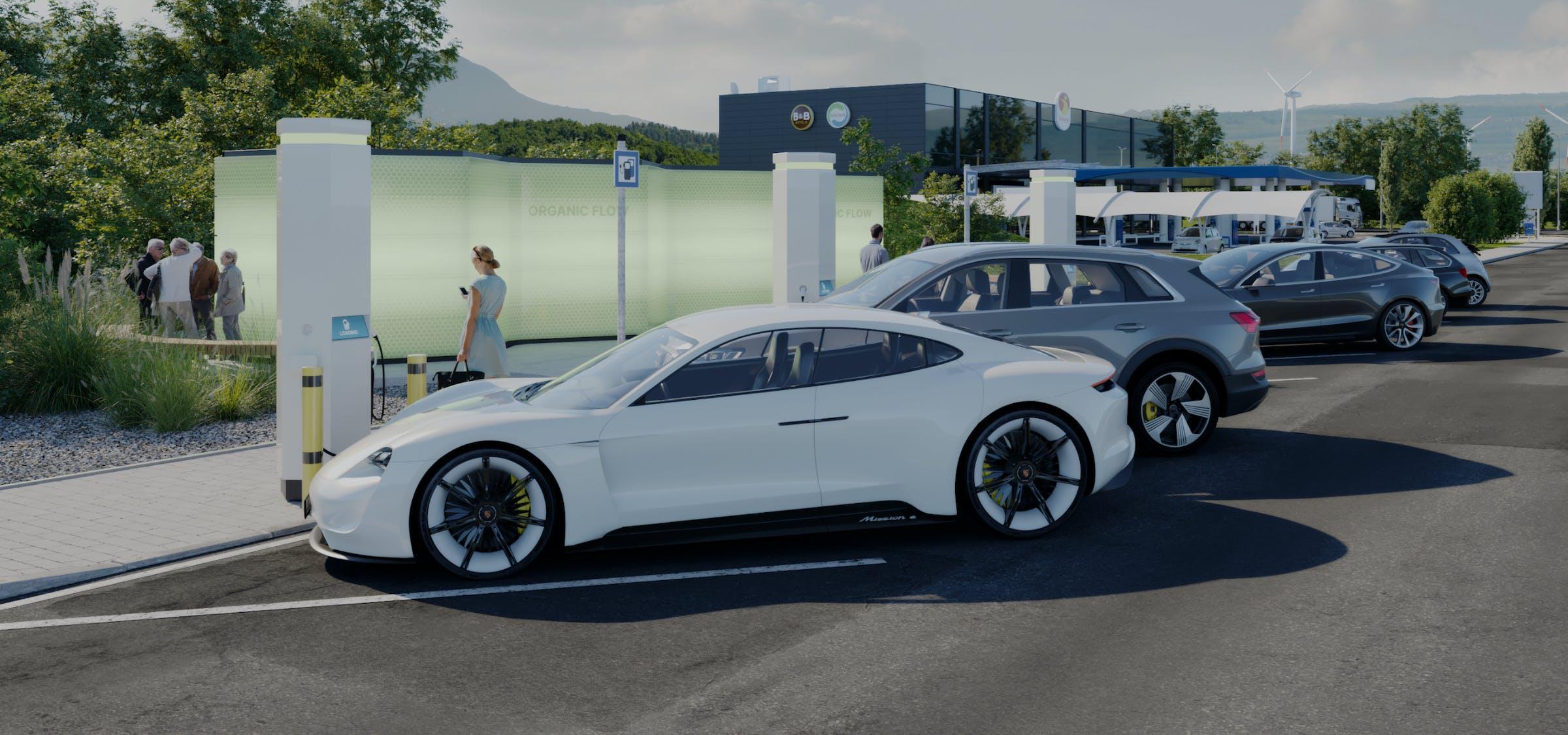 Organic flow batteriesto optimize electric vehicle charging.